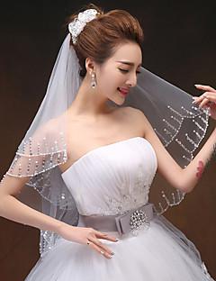 """הינומות חתונה שתי שכבות צעיפי מרפק קצה חרוזים 33.46 אינץ' (85 ס""""מ) טול לבן שנהב"""