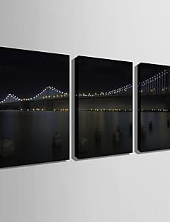 LED-canvaskunst Landschap Klassiek Modern,Drie panelen Verticaal Print Art wall Decor For Huisdecoratie