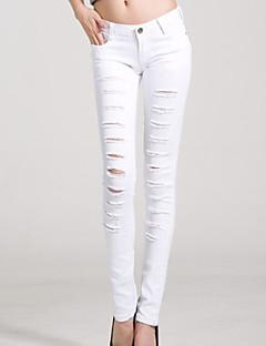 Kadınların yeni moda molası deliği ince kalem kot pantolon