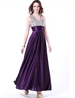 Formal Evening Dress - Grape A-line V-neck Floor-length Chiffon