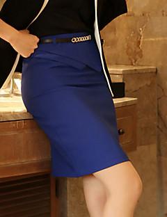 Kvinders Bodycon/Arbejde Over knæet Nederdele Mikroelastisk Polyester