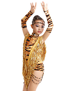 High-quality Milk Fiber with Tassels and Animal Print Latin Dance Dresses for Children's Performance (More Colors) Kids Dance Costumes