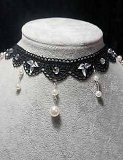 handmade elegante classico nero cristallo collana a catena lolita