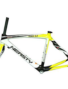 "RB-NT28+FK-NG28 Neasty Brand 700C Full Carbon Fiber Frame and Fork 3K/12K  Weave White and Yellow Neasty Logo 1-1/8"""