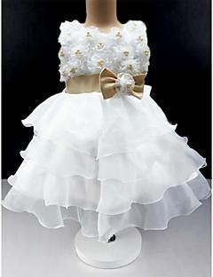 Galajurk Knie-Lengte Bloemenmeisje jurk - Katoen/Tule Mouwloos