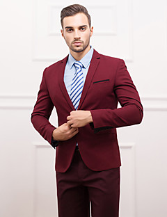 Suits Slim Fit Slim Notch Single Breasted One-button Polyester Solid 1 Piece Burgundy White