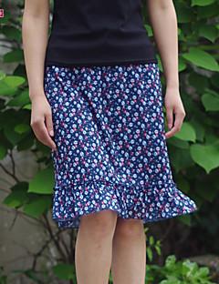 Damen Röcke  -  Retro/Leger/Bedruckt/Arbeit/Übergröße Mini Baumwolle/Polyester Mikro-elastisch