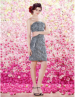 TS Couture Cocktail Party Dress - Sheath/Column Strapless Knee-length Sequined
