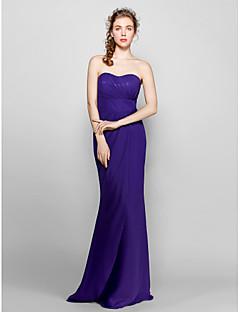 Lanting Bride® Na zem Šifón Šaty pro družičky - Pouzdrové Srdce Větší velikosti / Malé s Boční řasení
