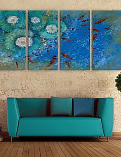 e-FOYER toile tendue art koi dans l'étang peinture décoration ensemble de 4