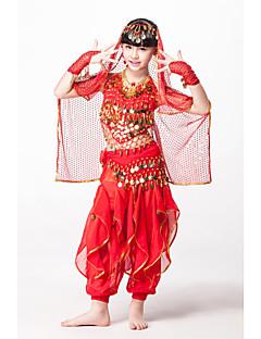 Outfits Dla dzieci Wydajność Szyfon Sequined Koraliki Monety 5 elementów Bez rękawów Naturalny