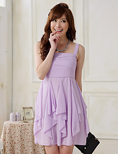 Short / Mini Chiffon / Polyester Bridesmaid Dress Sheath / Column Straps with Cascading Ruffles