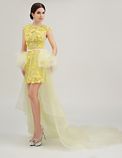 Formal Evening Dress - Yellow Trumpet/Mermaid Jewel Asymmetrical Organza/Tulle/Charmeuse