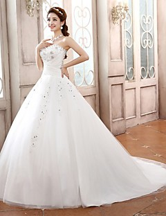 Ball Gown Petite Wedding Dress-Sweep/Brush Train / Court Train Sweetheart Satin / Tulle
