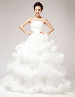 Princess Wedding Dress - White Floor-length Strapless Lace/Organza