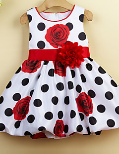 Girl's Casual/Daily Holiday School Polka Dot Floral Dress,Cotton Polyester Summer Sleeveless