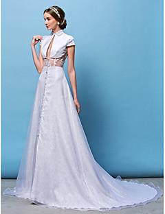 웨딩 드레스 - 화이트 A 라인/프린세스 채플 트레인 하이넥 레이스/오르간자