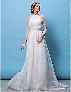 웨딩 드레스 - 화이트 A 라인/프린세스 쿼트 트레인 보석 쉬폰