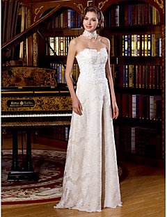 A-line Wedding Dress - White Floor-length Scalloped-Edge Lace