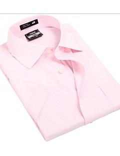 אנשיו של חולצה משובץ פוליאסטר שרוול קצר יום יומי / עבודה / רשמי / ספורט ורוד