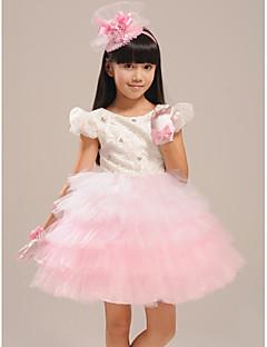 Ball Gown Knee-length Flower Girl Dress - Lace/Organza Short Sleeve