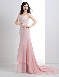 저녁 정장파티 드레스 - 캔디 핑크 트럼펫/멀메이드 쿼트 트레인 스쿱 쉬폰/레이스/사틴/명주그물