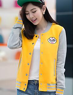 여성의 빈티지/캐쥬얼/귀여운 자켓 긴 소매 중간 면