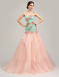 Formal Evening Dress Trumpet/Mermaid Strapless Court Train Organza/Tulle/Charmeuse