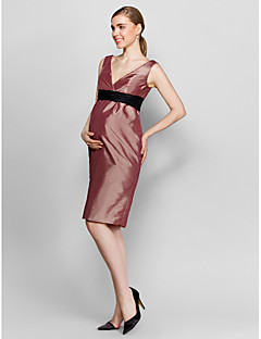Cocktail Party Dress - Brown Plus Sizes / Petite Sheath/Column V-neck Knee-length Taffeta