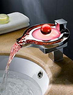 charmingwater současné změny barvy vedl vodopád chromované mosazi koupelna Dřezová baterie