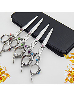 6.0 inch Hitachi 440C Stainless Steel Colorful Dragon Handle Hairdressing Scissors with gifts :  razor & clip & comb