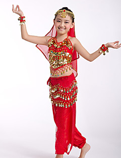 Belly Dance Performance Outfits Children's Performance Chiffon/Polyester Sequins Outfit Red/Yellow Kids Dance Costumes