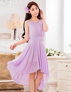 Brautjungfernkleid - Narzisse/Lavendel Chiffon - A-Linie - asymmetrisch - Juwel-Ausschnitt