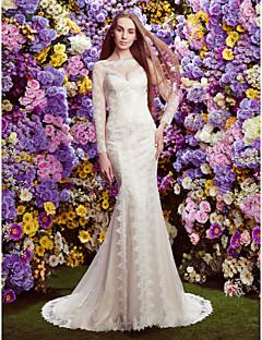 Lan Ting Trumpet/Mermaid Wedding Dress - Ivory Court Train Bateau Lace