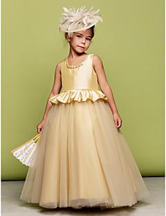 Ball Gown Floor-length Flower Girl Dress - Taffeta/Tulle Sleeveless