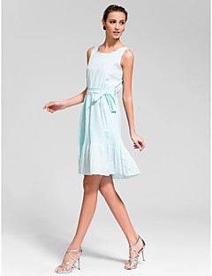 Cocktail Party Dress - White/Black A-line Jewel Knee-length Chiffon