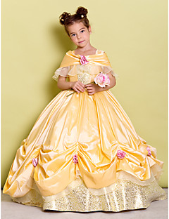 Ball Gown/Askunge - Golvlång - Flower Girl Dress ( Taft ) - Off-the-shoulder