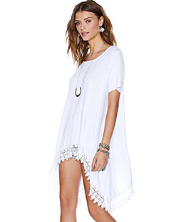 Women's Solid White T-shirt , Round Neck Short Sleeve Hollow Out