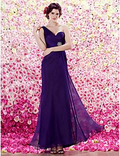 TS Couture Formal Evening Dress - Grape Sheath/Column One Shoulder Floor-length Chiffon