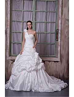 웨딩 드레스 핏 & 플레어 채플 트레인 원 숄더 태피터