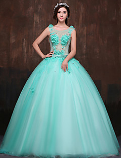 Formal Evening Dress Ball Gown Scoop Floor-length Satin/Tulle/Polyester