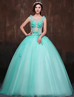 저녁 정장파티 드레스 볼 가운 바닥 길이 스쿱 사틴/명주그물/폴리에스터