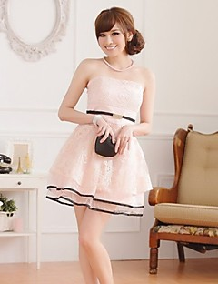 Cocktail Party Dress - Pearl Pink/Champagne/Black A-line Strapless Knee-length Satin/Tulle