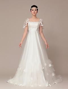 웨딩 드레스 - 화이트 A 라인 스위프/브러쉬 트레인 사각형 튤
