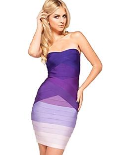 Vestito - Anguria/Viola Cocktail Tubino Senza Spalline Mini Raion