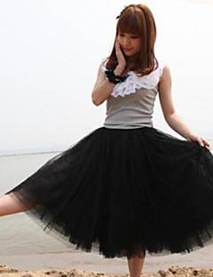 rosa branco / preto / verde / saia das mulheres / bege, vintage / bonito midi em camadas