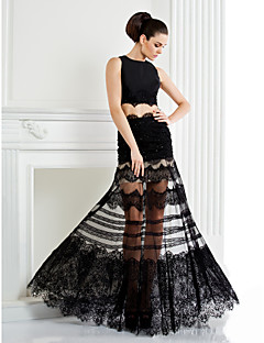 Prom Formal  Evening Dress - See Through / Two Pieces A-line Jewel Floor-length Lace / Satin with Appliques / Beading / Lace