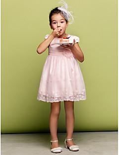 꽃의 소녀 드레스 - A라인/프린세스 짧은 소매 핫팬츠/미니 명주그물