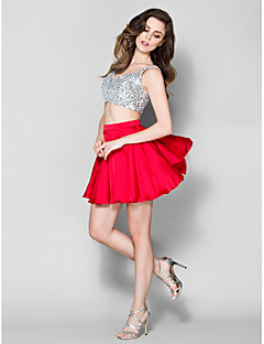 Homecoming Cocktail Party Dress - Ruby A-line Straps Short/Mini Satin Chiffon