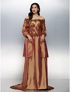 Formal Evening Dress - Brown Plus Sizes / Petite Sheath/Column Off-the-shoulder Sweep/Brush Train Taffeta